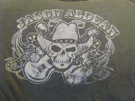T-Shirt concert Jason Aldean Skull and Crossed Guitars rustic antique print - $29.68