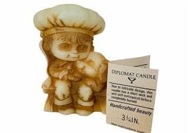 Hallmark Cards Diplomat Candle vtg figurine wax Christmas bench boy puppy dog  - $19.30