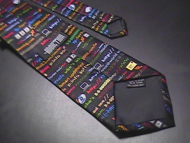 Addiction Neck Tie Internet Addresses Symbols Https Dot Coms Black Background