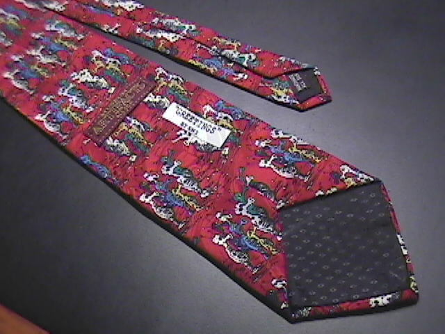 Museum Artifacts Handmade Silk Neck Tie Greetings by SNI Bright Red with Aliens