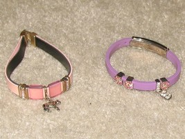 Vintage Costume Jewelry 2 Leather & Rhinestone Bracelets  - $8.95