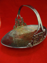 Japanesque Silverplate Basket with Children's Scene / Design - $84.15