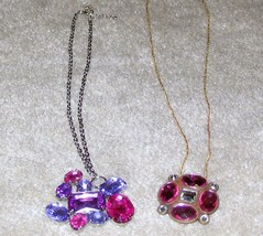 Costume Jewelry 2 Necklaces 2 Colored Stone Pendants - $9.35