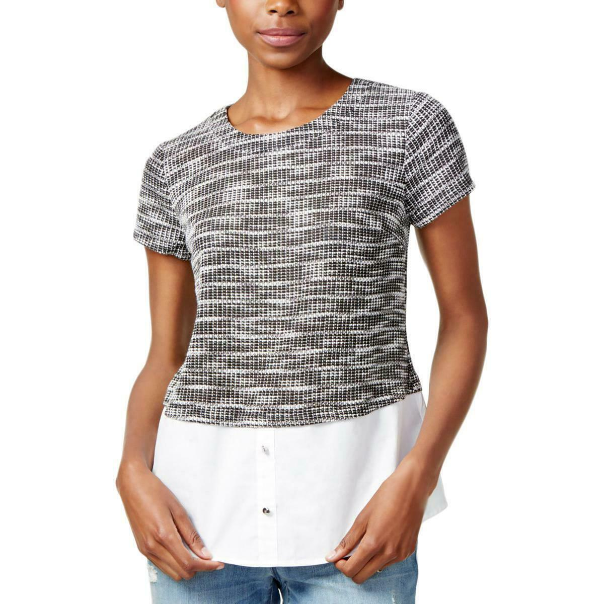 Primary image for Maison Jules Women's Printed Contrast Layered Look Casual Top Black $49 Size S
