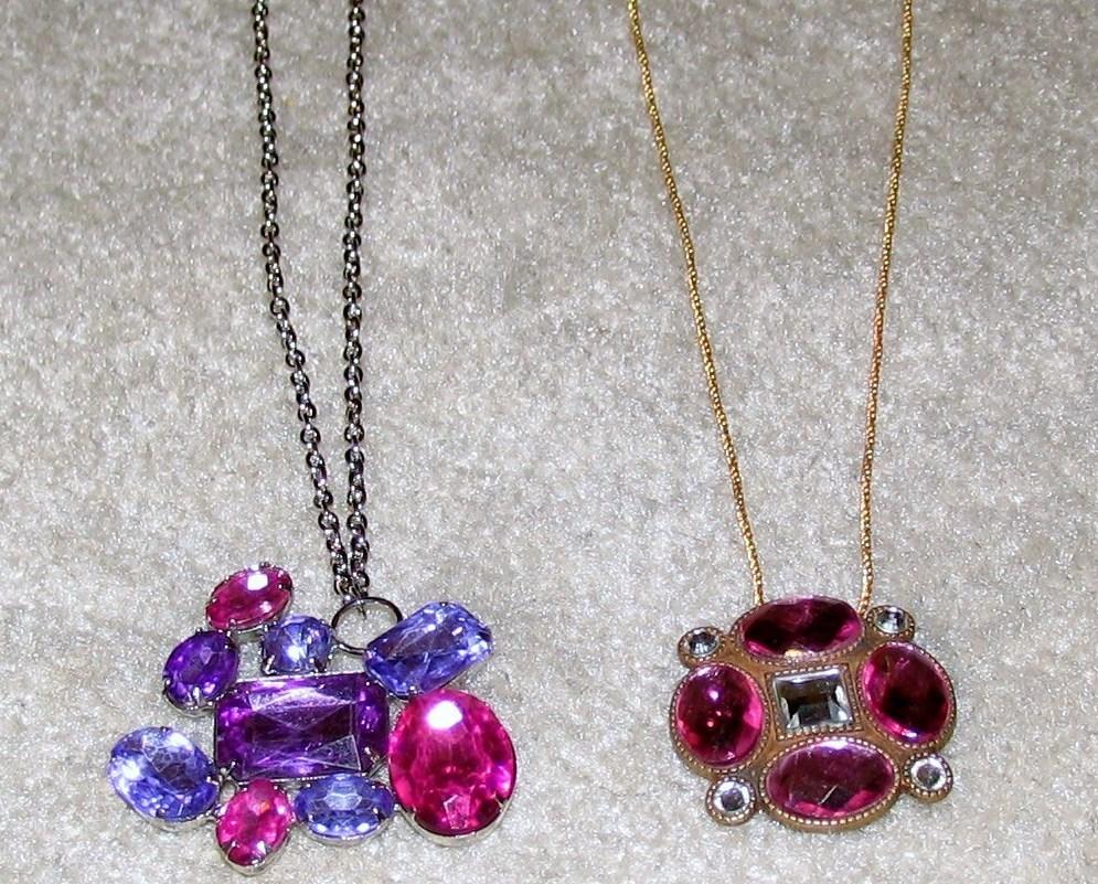 Costume Jewelry 2 Necklaces 2 Colored Stone Pendants