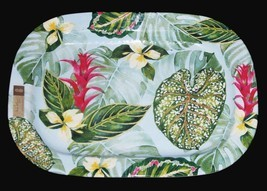 "Nicole Miller Bright Tropical Flowers Melamine 17-1/4"" HVY DUTY Tray Pla... - $39.99"