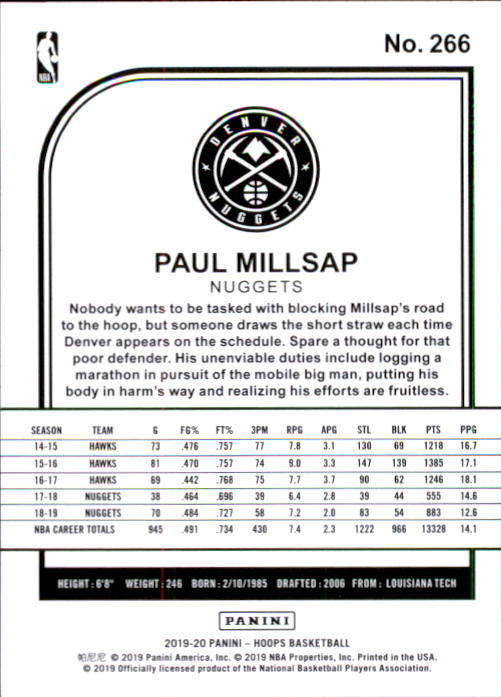 Paul Millsap 2019-20 Panini NBA Hoops Card #266 image 2