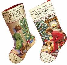 Janlynn Christmas Stockings Counted CrossStitch 2 Kits Waiting For Santa... - $79.19