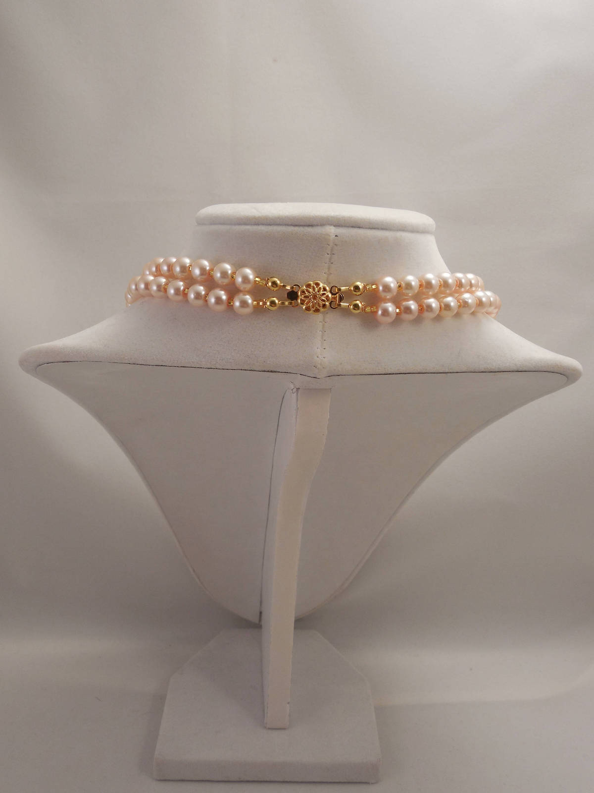 Two Strands, Embossing Look, Peach Pink Glass Pearl Necklace