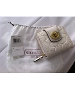 Coach Turnlock Patent Slim Wallet Ivory / Brass - $44.99