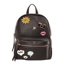 Women's Mesh Pop Art Vegan Leather Zipper Backpack Purse Girls Shoulder Bag image 2