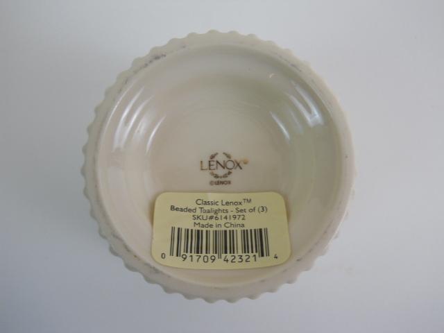 Classic Lenox Porcelain Beaded Tealight Votive Candle Holder 23K Gold Accent WT