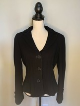 Etcetera Black Wool Jacket Career Cocktail Three Button Collared Vneck W... - $44.50