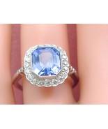 ESTATE 3.96ct CEYLON SAPPHIRE .57ctw DIAMOND LADY DI ENGAGEMENT COCKTAIL RING - £4,533.17 GBP