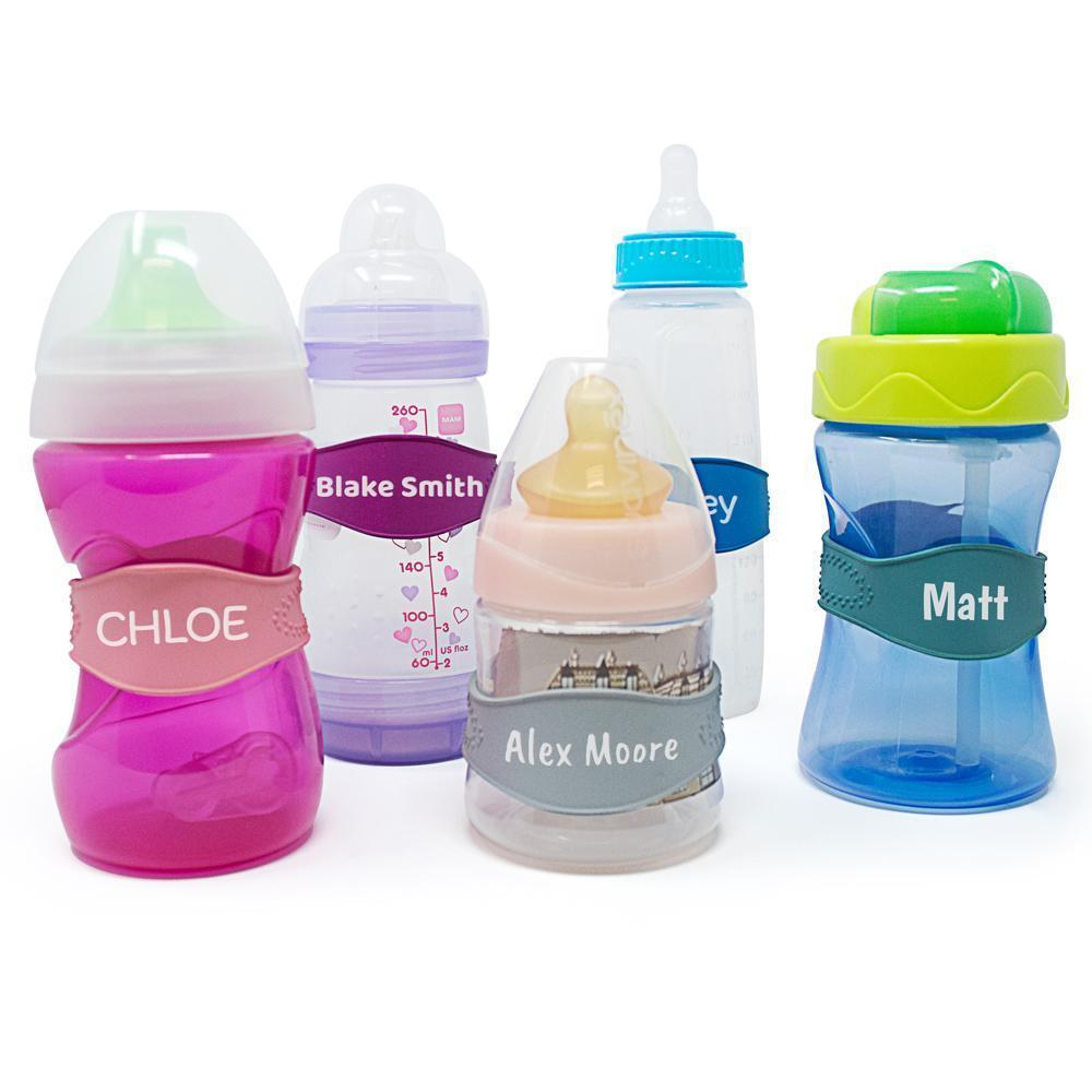 Primary image for Baby Bottle Bands - 3 Personalized Bottle Labels - Sippy Cup Name Labels Daycare