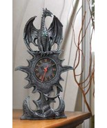 Mantel Clock mythical winged dragon w roman num... - $21.89
