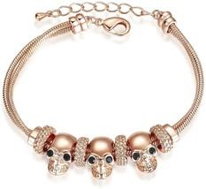Yoursfs Skull Bracelet 18K Rose Gold Plated Women Gothic Skull Skeleton ... - $31.98