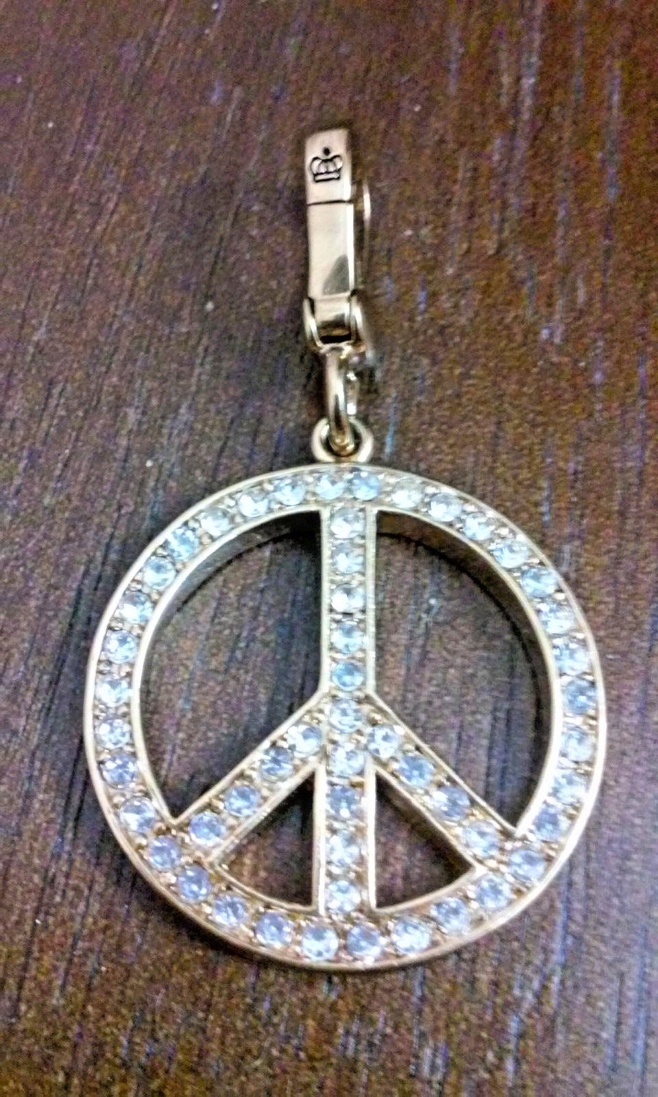 Juicy Couture Pink Enamel & Crystal Double Sided Peace Love Couture Sign Charm