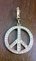 Juicy Couture Pink Enamel & Crystal Double Sided Peace Love Couture Sign... - $17.10
