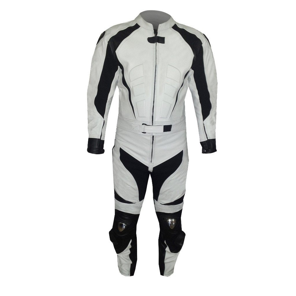 New Mens Black White Color Motorcycle Leather Suit Leather Jacket and Pants for sale  USA