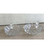 Pair Vintage Fostoria American Square Handled Nappy Bowl Set 2 - $20.78