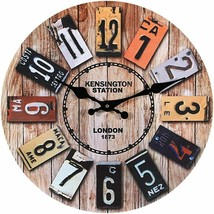 "License Plate Numbers Styling 12"" Round Wall Clock, Modern Retro Vintage... - $24.64"