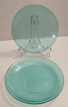 Lot 2 ARCOROC FRANCE JARDINIERE ribbed AQUAMARINE / TEAL GLASS SALAD PLA... - $21.47