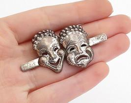 DANECRAFT 925 Silver - Vintage Happy & Sad Theater Masks Brooch Pin - BP5364 - $43.20