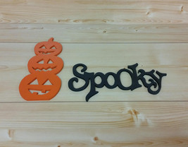 Halloween Decor Set of Stacked Pumpkins and the Word Spooky - Jack-o-lan... - $19.99