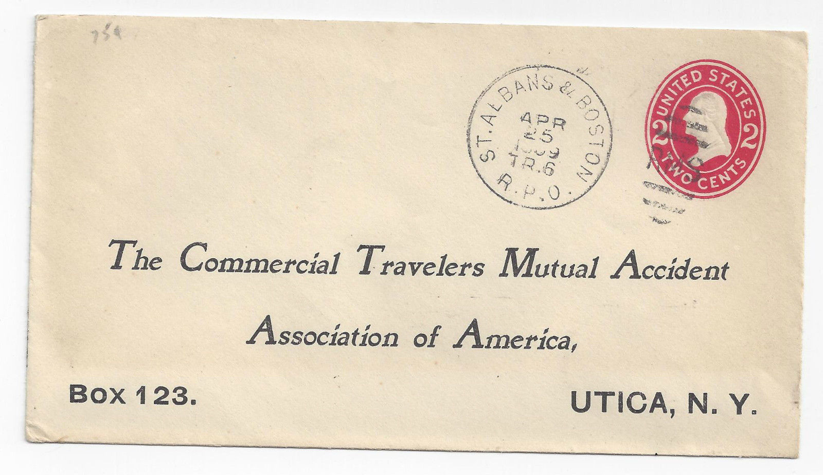 99 br 198 us 1909 rpo st. albans   boston rms train 6 commercial cover stamped envelope