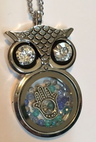 Primary image for Owl Necklace Floating Hamsa & Swarovski Crystals Charm Pendant Fatima Gift