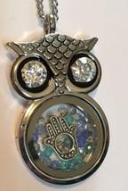 Owl Necklace Floating Hamsa & Swarovski Crystals Charm Pendant Fatima Gift image 1