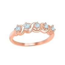 Round Cut Aquamarine 14k Rose Gold Over 925 Silver Wedding Band Ring - $43.34