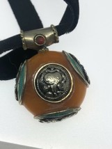 Vintage Compressed Amber Turquoise Inlay White Bronze Necklace - $118.80