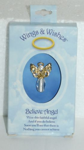 DM Merchandising Wings Wishes Gold Colored Believe Angel Clear Body