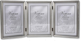 Lawrence Frames Antique Pewter 5x7 Hinged Triple Picture Frame - Bead Bo... - $34.98