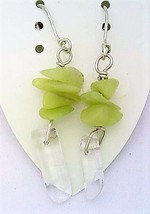Prehnite Gemstone Nuggets And Crystal Silver Wire Earrings - $13.39