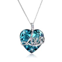 Made With Sparkly Ocean Blue Swarovski Crystal Heart Necklace Pendant Je... - $58.80