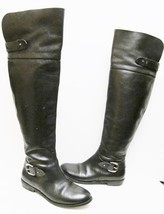 Guess Solar Boots Tall Leather Riding Pirate Over the Knee Buckle Black 6.5 M - $49.95