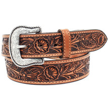 """U-8-42 42"""" Nocona Salinas Made In The Usa 1-1/2"""" Floral Leather Mens Belt Tan - $38.95"""