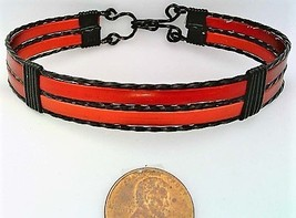 Red Anodized Aluminum Black Copper Wire Wrap Bracelet 11 - $16.00