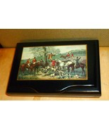 Vintage Black Lacquered Italian Music / Trinket Box w Fox Hunting Scene  - $41.58