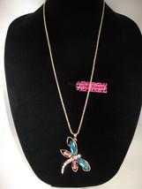 NEW Betsey Johnson Rhinestone Turquoise & Pink Dragonfly Pendant on lo... - $24.50