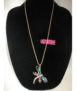 NEW Betsey Johnson Rhinestone Turquoise & Pink Dragonfly Pendant on lo... - $24.50