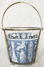 Jeannette Glass Ice Bucket With Carrier Wedgwood GRECIAN Blue Hellenic 4791 - $24.75