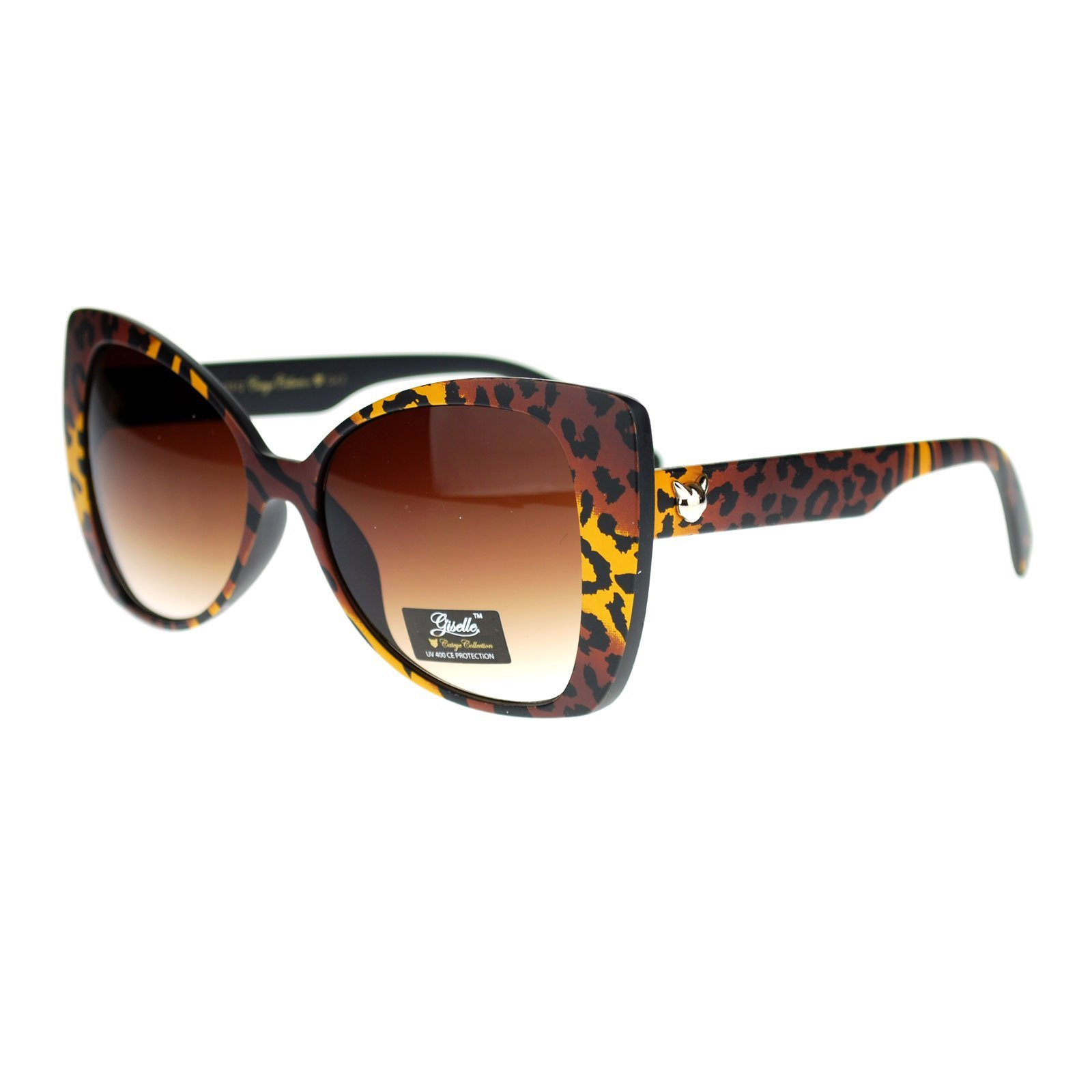 Giselle Color Leopard Animal Print Cat Eye Butterfly Sunglasses Brown
