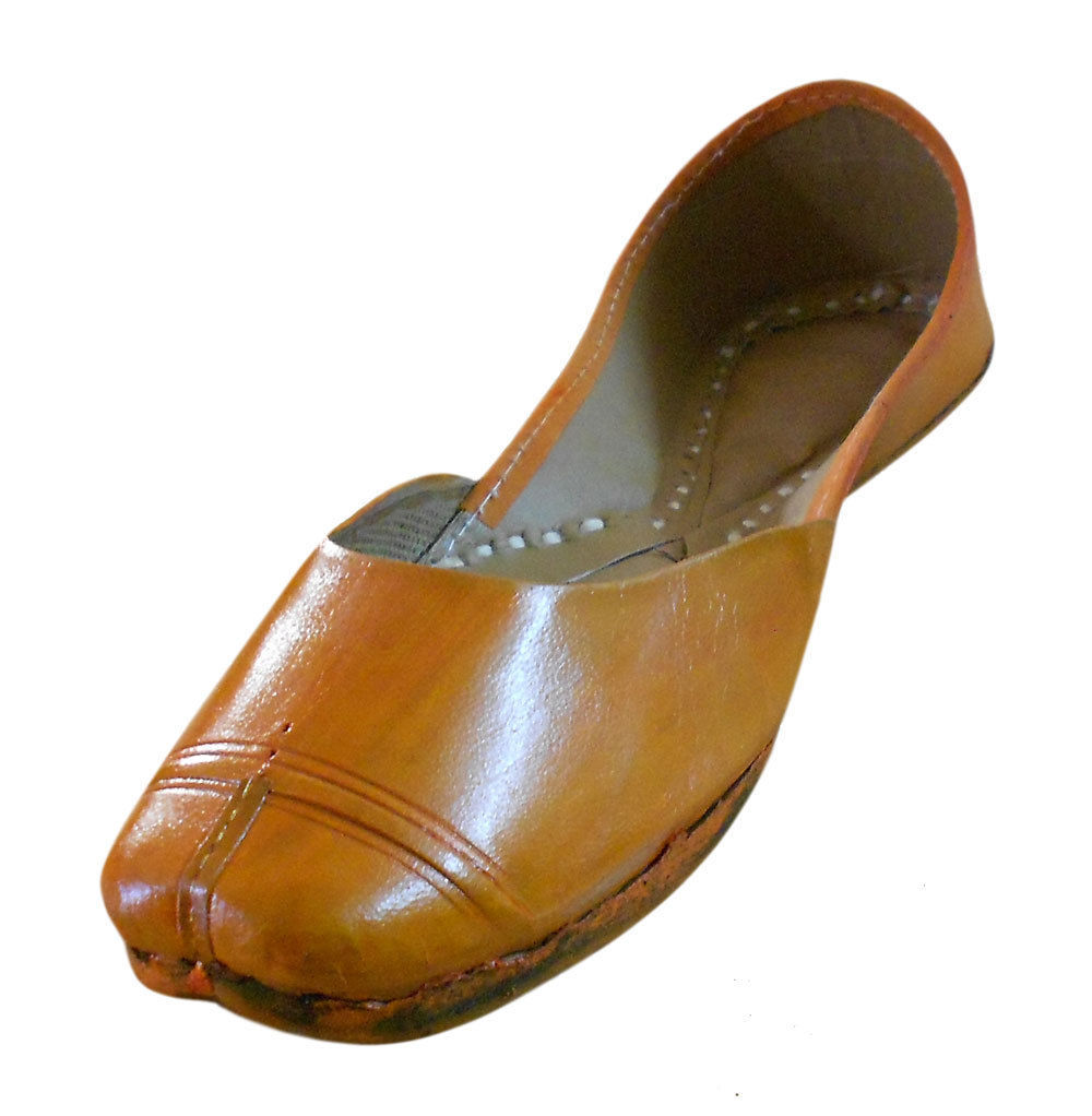 Primary image for Women Shoes Indian Jutties Handmade Leather Orange Flat Punjabi Khussa US 7.5