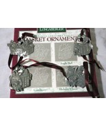 Longaberger 1997 Boxed Set Of 4 Pewter Basket Ornaments 71927 - $8.18