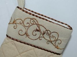 Grasslands Road Brand Cucina Style Set of Two Quilted, Embroidered Light Tan Ove image 4