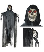 Hanging Grim Reaper Halloween Decor Skull w/ Shackles Chains Makes Scary... - $43.23